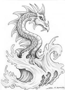 Drawn water dragon