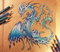 Drawn water dragon crystal