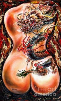 Drawn water dragon koi legend