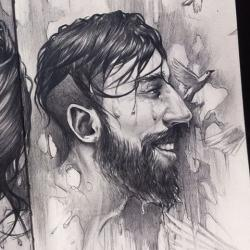 Drawn water droplets beard
