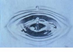 Drawn waterdrop dropping
