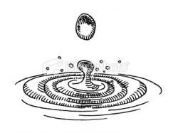 Drawn waterdrop ripple