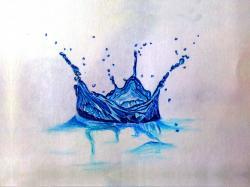 Drawn water droplets water splash