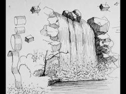 Drawn waterfall