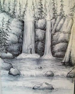 Drawn forest waterfall drawing