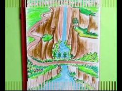 Drawn waterfall scenery
