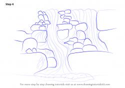 Drawn waterfall step by step