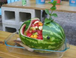 Drawn watermelon whale