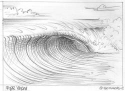 Drawn surfboard barrel wave