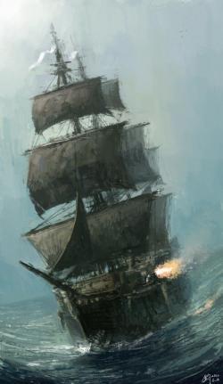 Drawn sea rough sea