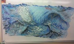 Drawn wave whiteboard