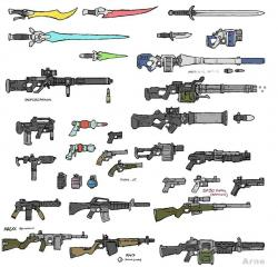 Drawn gun sprite sheet