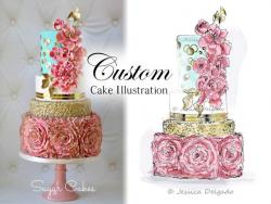 Drawn wedding cake illustrated
