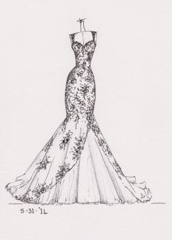 Drawn pice wedding dress