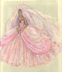 Drawn wedding dress costume designer