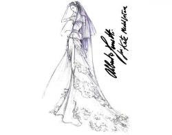 Drawn wedding dress famous fashion designer