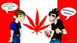 Drawn weed canadian flag