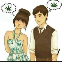 Drawn cannabis couple