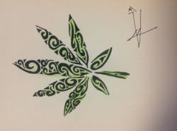 Drawn weed cute