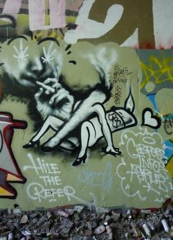 Drawn cannabis graffiti