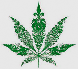Drawn weed hemp leaf