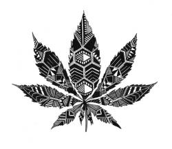 Drawn cannabis black and white