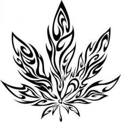 Drawn weed leaf draw