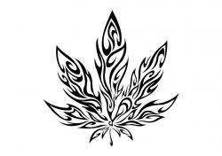 Drawn cannabis leaf stencil
