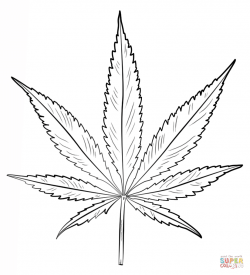 Drawn weed leaf template