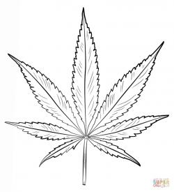 Drawn weed leaf template