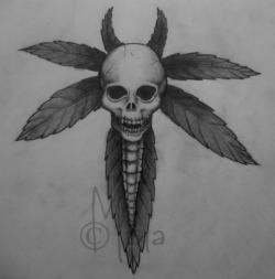 Drawn cannabis skull