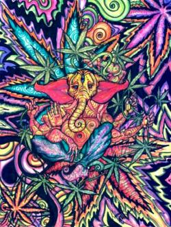 Drawn cannabis trippy