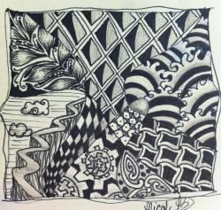 Drawn weed zentangle
