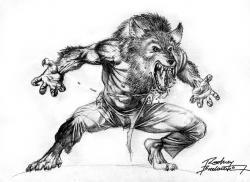 Drawn wolfman pencil drawing