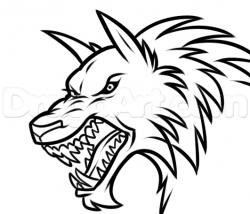 Drawn wolfman face