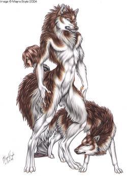 Drawn wolfman female werewolf