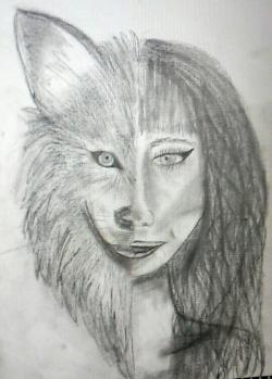 Drawn werewolf half human