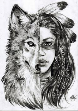 Drawn werewolf indian