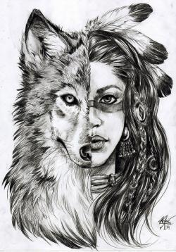 Drawn werewolf indian