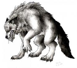 Drawn wolfman mythical creature