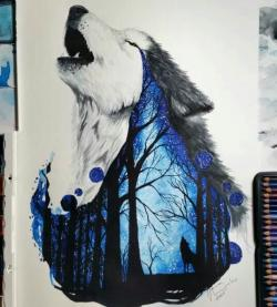 Drawn werewolf painting