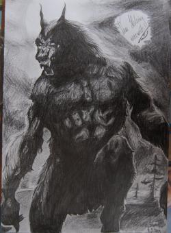 Drawn wolfman painting