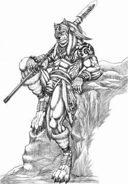 Drawn wolfman warrior
