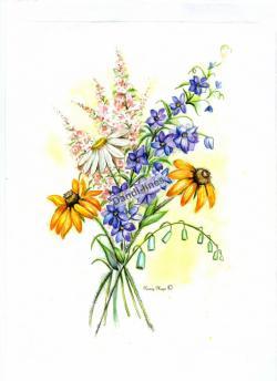 Drawn wildflower composition