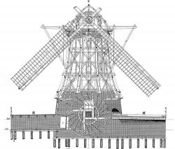 Drawn windmill building