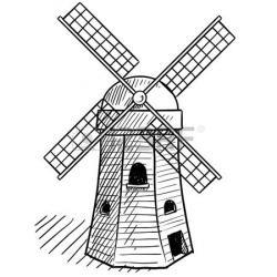 Drawn windmill cartoon