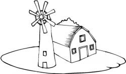 Drawn windmill coloring