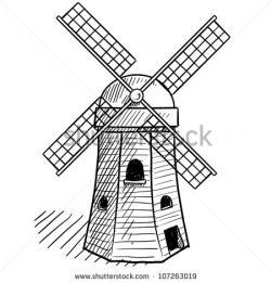 Drawn windmill dutch windmill