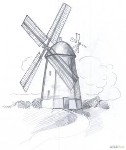 Drawn windmill old