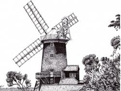 Drawn windmill pen and ink